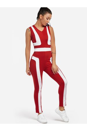 Yoins Mujer Conjuntos de deporte - Zip Back Design Stripe V-neck High-waisted Tracksuit
