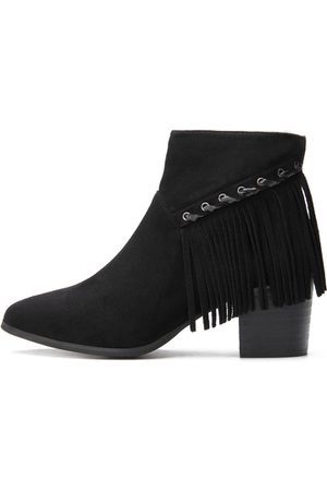 Yoins Suede Chunky Heels Tassel Design Ankle Boots