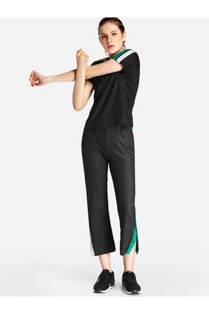 Yoins Side Pockets Stripe Short Sleeves Slit 2-piece Tracksuit