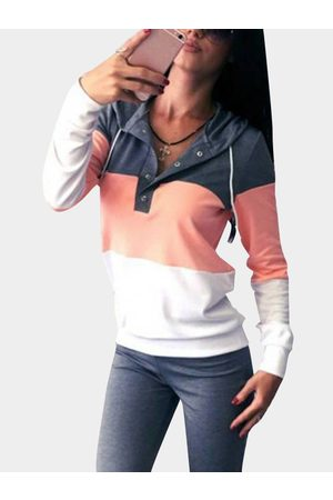 Yoins Button Front V-neck Long Sleeves Hooded Tracksuit