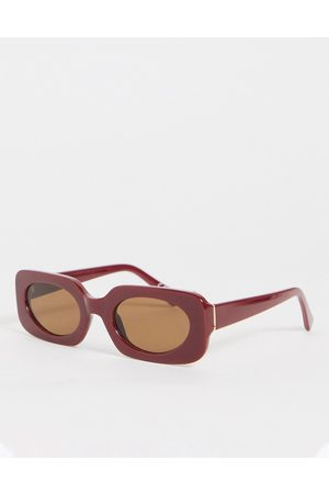 ASOS Mid square sunglasses in red with tonal lens