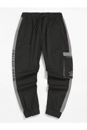 Zaful Contrast Panel Letter Print Cargo Pants