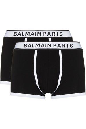 Balmain Pack de dos bóxeres con logo en la pretina