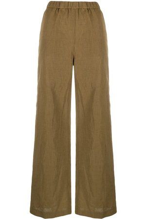 Aspesi Mujer Anchos y de harem - Micro-check wide leg trousers