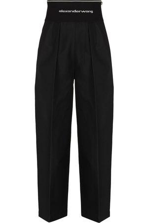 Alexander Wang Logo waistband cropped wide-leg trousers