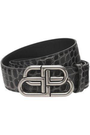 """Balenciaga Cinturón """"bb"""" De Piel Efecto Cocodrilo Con Logo"""