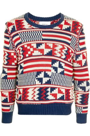 Ports V Suéteres - Suéter tejido con estampado geométrico