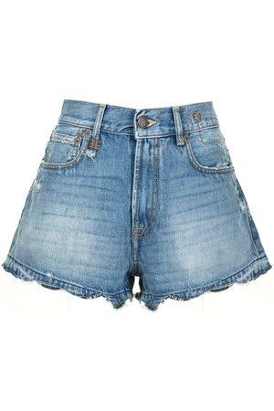 R13 Shorts de mezclilla con efecto envejecido