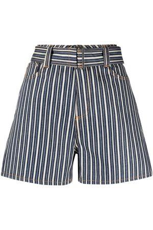 Ganni Mujer De mezclilla - Shorts de mezclilla a rayas
