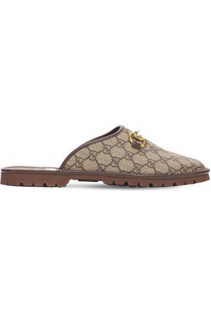 """Gucci Hombre Sandalias - Zapatos Mules """"gg Supreme"""" De Lona Con Horsebit"""