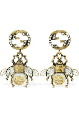 Gucci Mujer Aretes - Pendientes Con Cristales Y Abeja