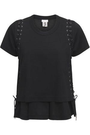 NOIR KEI NINOMIYA Mujer Playeras - Camiseta De Jersey De Algodón Con Cordones