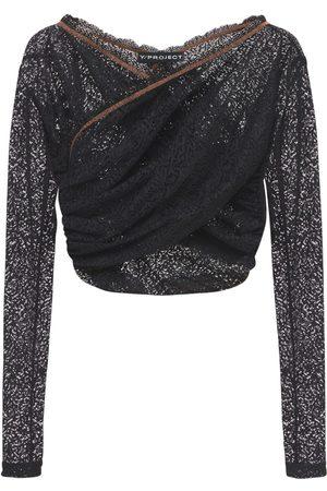 Y / PROJECT Mujer Blusas - Blusa Cropped Cruzada De Encaje