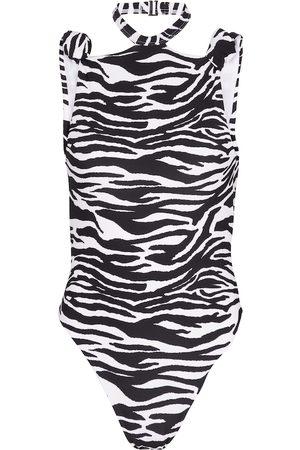 The Attico Mujer Trajes de baño completos - Halterneck zebra-print swimsuit