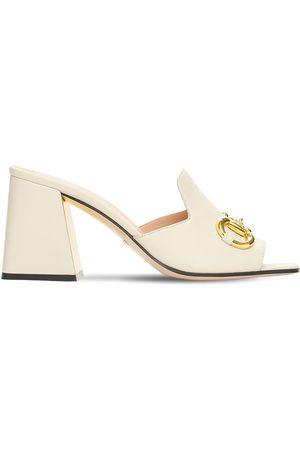 Gucci Mujer Zuecos - Zapatos Mules De Piel Con Horsebit 75mm
