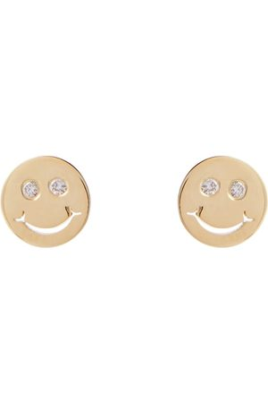 Sydney Evan Happy Face 14kt gold and diamond earrings