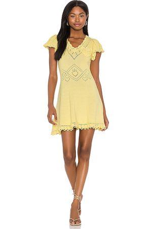 LOVESHACKFANCY Vestido fresno en color amarillo limon talla L en - Lemon. Talla L (también en S, XS, M).