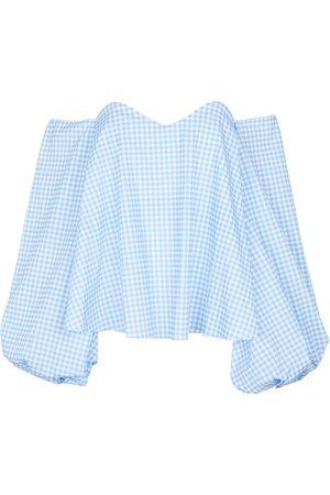 Caroline Constas Everly gingham cotton-blend blouse