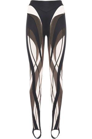 MUGLER Leggings De Tul Brillante Y Transparente