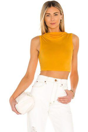 Camila Coelho Top sin mangas pixie en color amarillo mostaza talla L en - Mustard. Talla L (también en XS, S, M).