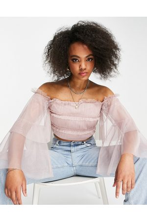 ANAYA With Love tiered sleeve bardot top in blush tulle