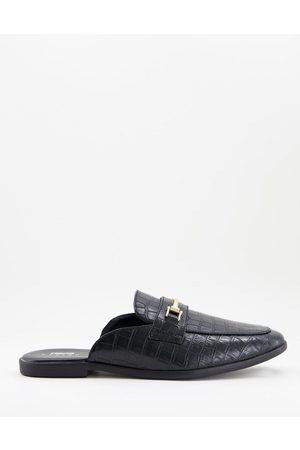 ASOS Backless mule loafer in black croc faux leather