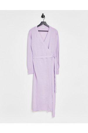 Pretty Lavish Beau wrap knit dress with tie waist in lilac