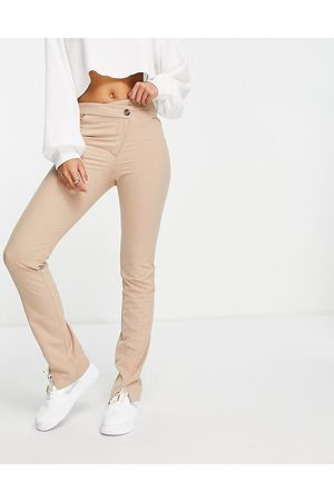Weekday Salena organic cotton trousers with slit hem and cross over fly in mole