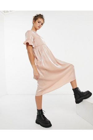 Lola May Long smock dress in pink shimmer