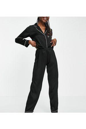 ASOS ASOS DESIGN Tall satin long sleeve shirt & trouser pyjama set in black