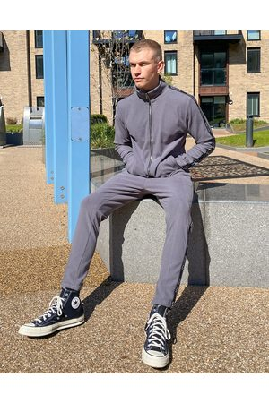 Mauvais Rib track joggers with tape in grey