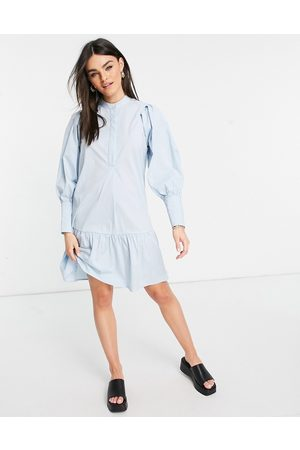 Y.A.S Organic cotton mini smock dress with deep cuffs in light blue