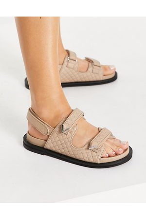 ASRA Sojo quilted chunky grandad sandals in leather