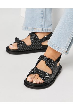 ASRA Mujer Sandalias - Sojo quilted chunky grandad sandals in black leather