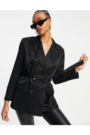 French Connection Carena suit jacket with tie waist in black co ord