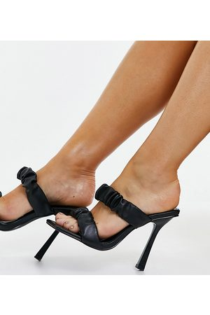 Simmi Wide Fit Mujer De tacón - Simmi London Wide Fit Quinn ruched heeled mules in black
