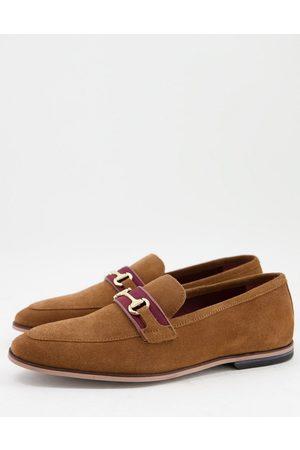 WALK LONDON Raphael bar loafers in tan suede
