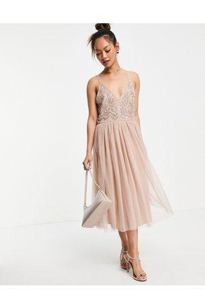 Maya Embellished top midi dress in blush