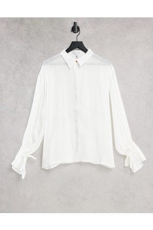 Pretty Lavish Demi metallic tie cuff blouse in white