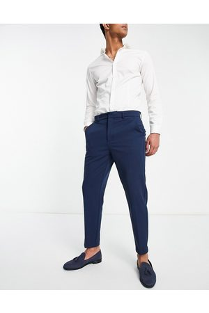 River Island Hombre Chinos - Tapered trousers in blue twill