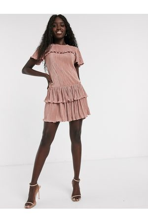 Miss Selfridge Mujer Casuales - Plisse mini dress with frills in pink
