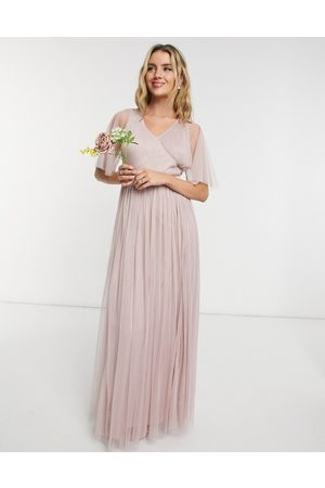 ANAYA Mujer Vestidos de noche - With Love Bridesmaid tulle flutter sleeve maxi dress in pink