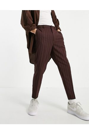 ASOS Hombre Chinos - Tapered smart trousers in burgundy stripe