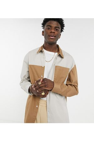 COLLUSION Long sleeve shirt in spliced block colour