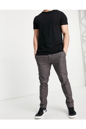River Island Hombre Chinos - Skinny smart trousers in brown check