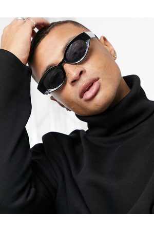 ASOS Recycled frame mid oval sunglasses in black with smoke lens
