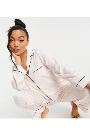 ASOS ASOS DESIGN Petite satin long sleeve shirt & trouser pyjama set in pink