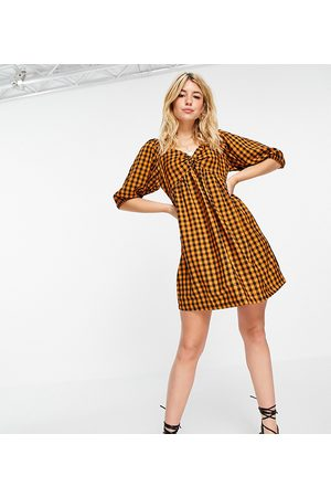Wednesday's Girl Mini smock dress with puff sleeves in contrast gingham