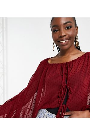 ASOS Tall ASOS DESIGN Tall long sleeve sheer dobby plunge top in dark red