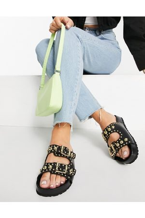 Schuh Tatyana studded sandals in black leather